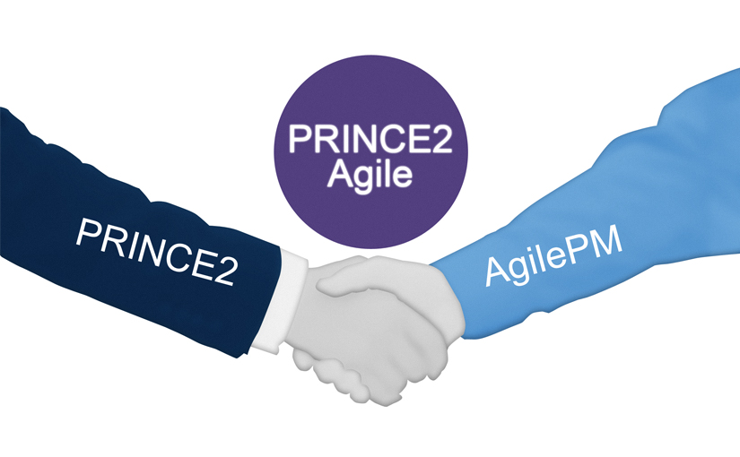 Graphic of PRINCE2 and AgilePM as symbolic shaking hands in a PRINCE2 Agile merger