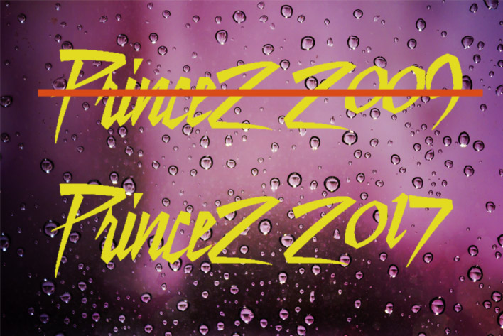 PRINCE2 2009 crossed out in favour of PRINCE2 2017 on a purple rain background