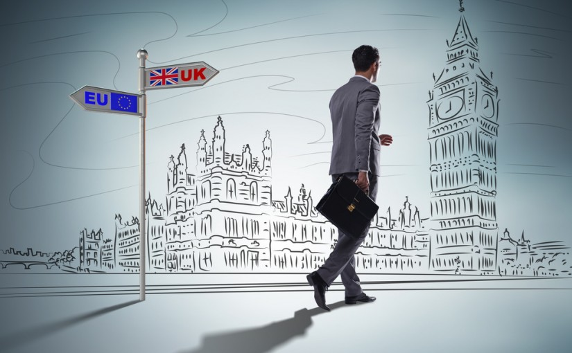 Business Man in front of Brexit Sign