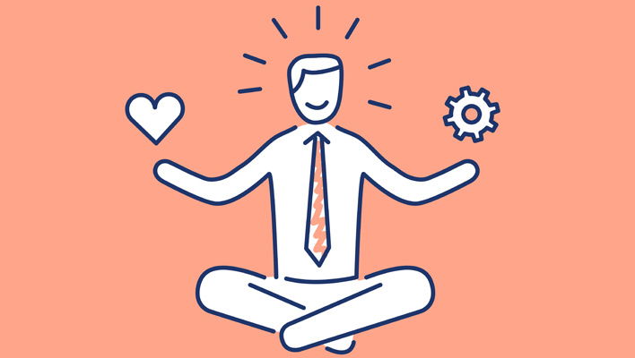 Cartoon of meditating businessman balancing compassion and technical duties