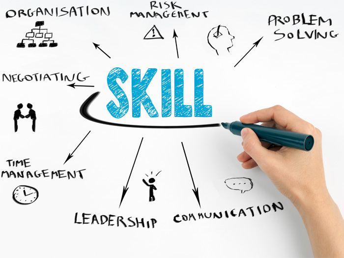 7 project management skills drawn on a whiteboard