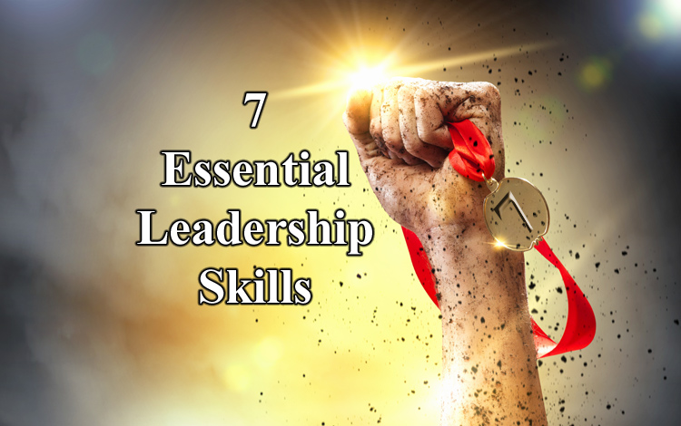 Title '7 Essential Leadership Skills' next to a hand carrying a medal