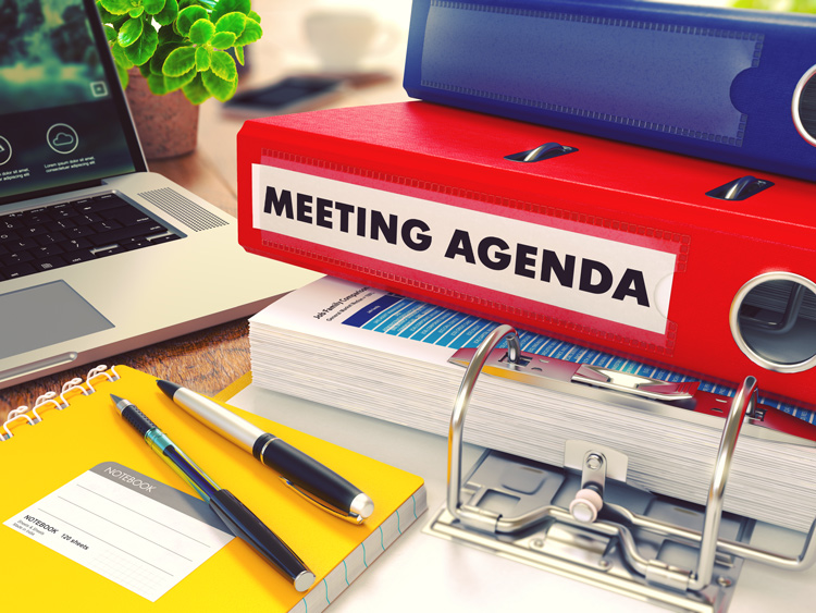 Folders with one labelled 'meeting agenda'